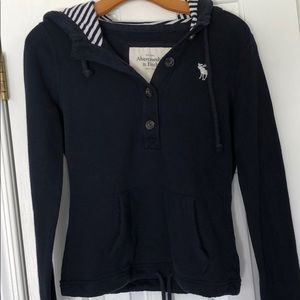 Abercrombie & Fitch Navy Hoodie Small EUC wow!